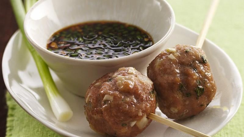 Vietnamese Meatball Lollipops with Dipping Sauce