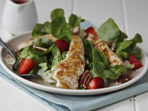 Fast and Easy Grilled Chicken Salad with Strawberries and Pecans