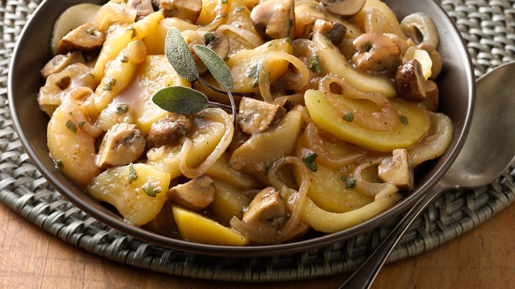 Gluten-Free Potato, Pear and Mushroom Saute