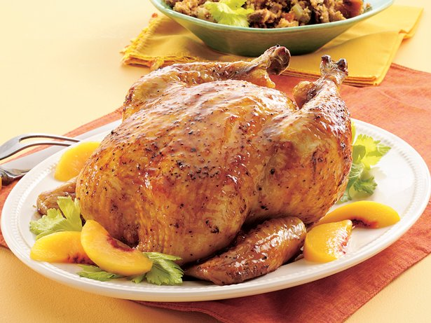 Roasted Chicken with Peach Glaze