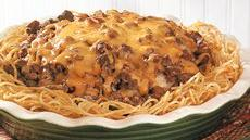 Burger-Bean Spaghetti Pie Recipe