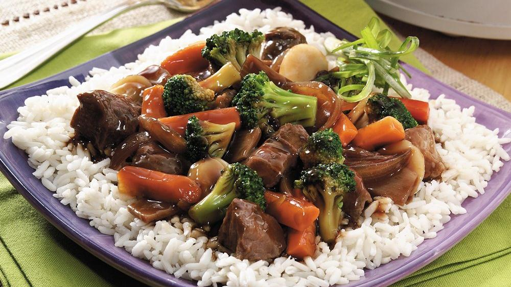 Slow-Cooked Chop Suey over Rice