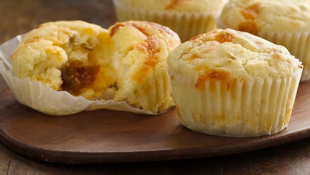Jalapeño Cheddar Muffins with Peach Filling