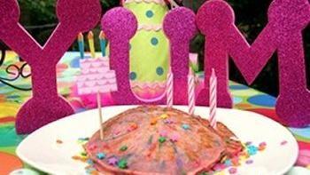 Birthday Cake Batter Rainbow Pancakes