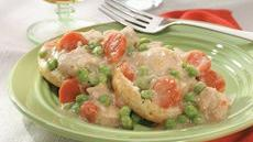 Slow-Cooked Smothered Buttermilk Chicken with Peas over Biscuits Recipe