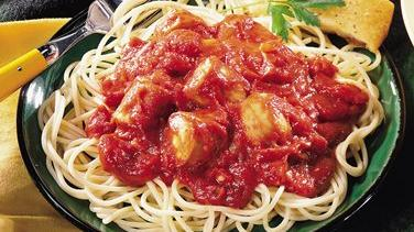 Slow-Cooked Italian Sausage Pasta Sauce with Spaghetti