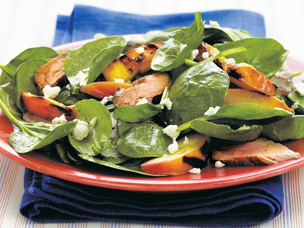 Grilled Pork 'n Nectarine Spinach Salad