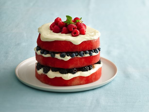 "Red, White and Blue Fruit ""Cake"""