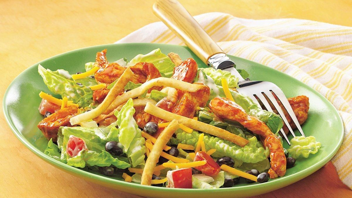 Taco-Seasoned Chicken Salad with Crispy Tortilla Topping - Life Made ...