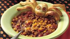 Cauldron of Chili with Spider Breads Recipe