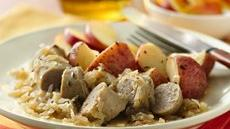 Turkey Brats with Potatoes and Sauerkraut Recipe