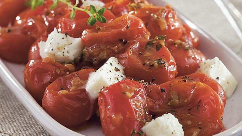 Pan-Sautéed Grape Tomatoes with Mozzarella