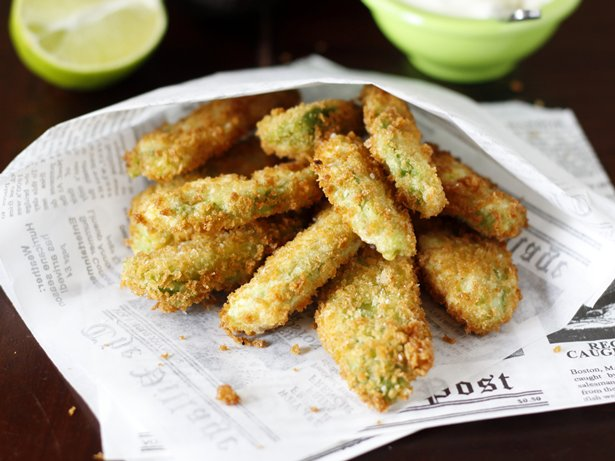 Fried Avocado Wedges with Wasabi-Lime-Mayo Dipping Sauce