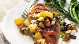 Gluten Free Grilled Chicken Breasts with Cucumber Peach Salsa