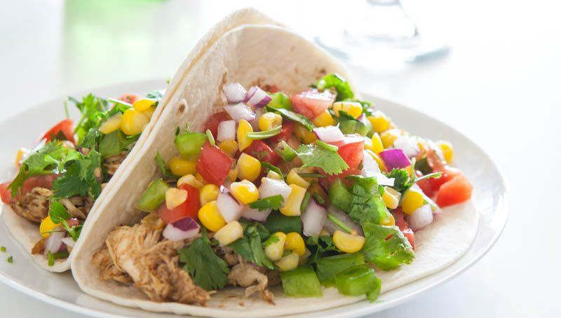 Slow Cooker Chicken Tacos with Corn Salsa