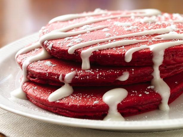 Red Velvet Pancakes with Cream Cheese Topping recipe from Betty ...