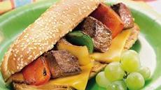 Grilled Philly Cheese Steak Kabob Sandwiches Recipe