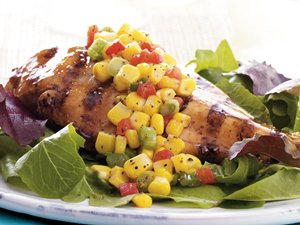 Bourbon Chicken with Corn Relish