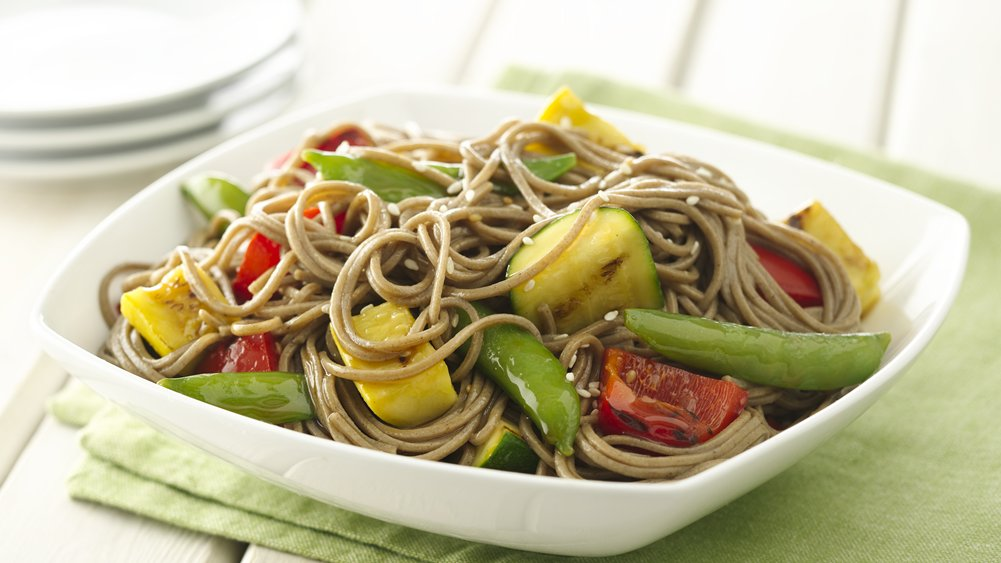 Sesame Ginger Grilled Vegetables and Soba Noodles