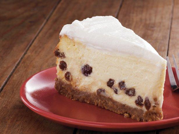 Sour Cream-Rum Raisin Cheesecake recipe from Betty Crocker