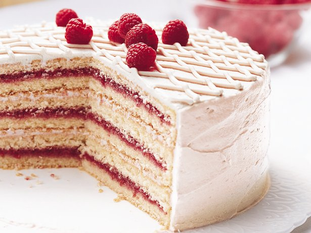 Raspberry-Laced Vanilla Cake