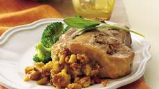Sage 'n Maple Cornbread Stuffed Pork Chops Recipe