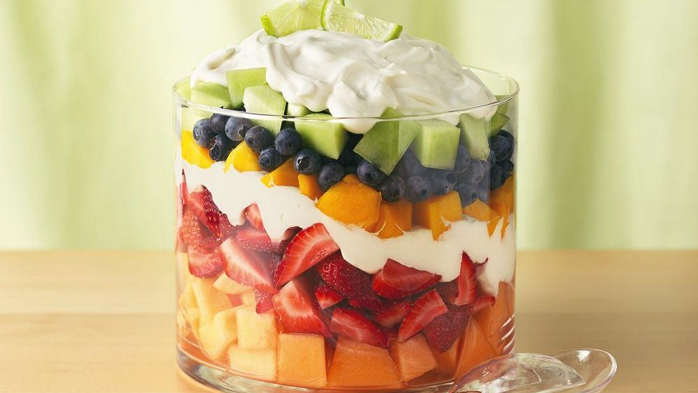 Layered Summer Fruits with Creamy Lime Dressi