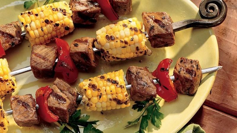 Grilled Beef and Corn Kabobs