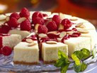 Healthified Almond Cheesecake with Raspberry Sauce