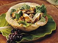 Chicken Caesar Salad in Bread Bowls