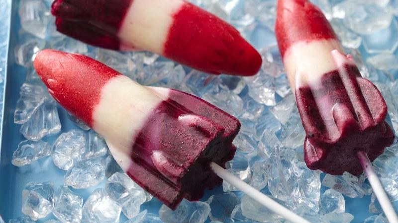Red, White and Blueberry Lemonade Pops recipe from Betty Crocker