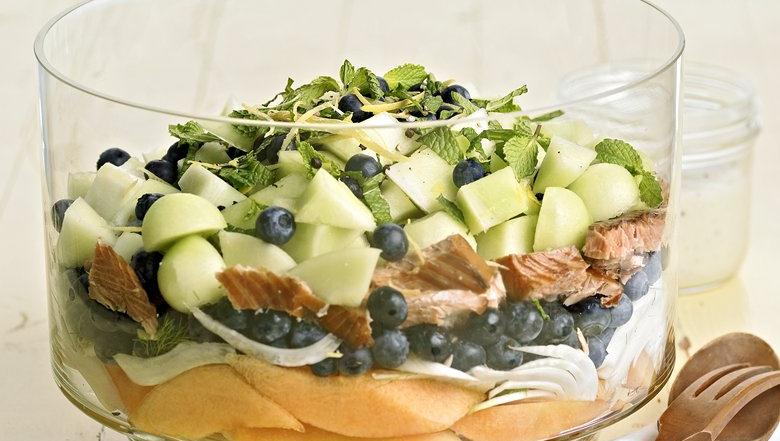 Healthified Tangy Smoked Salmon Layered Salad