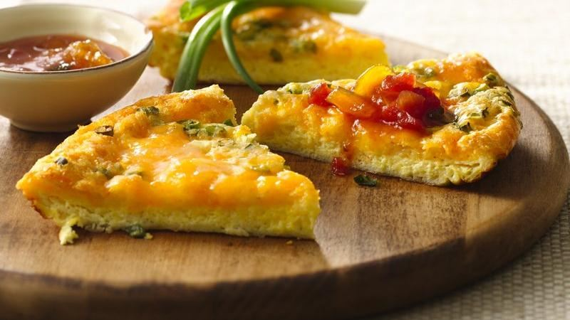 Baked Puffy Cheese Omelet with Peach Salsa