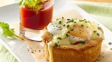 Eggs Benedict Biscuit Cups with Bloody Mary Shooters Recipe