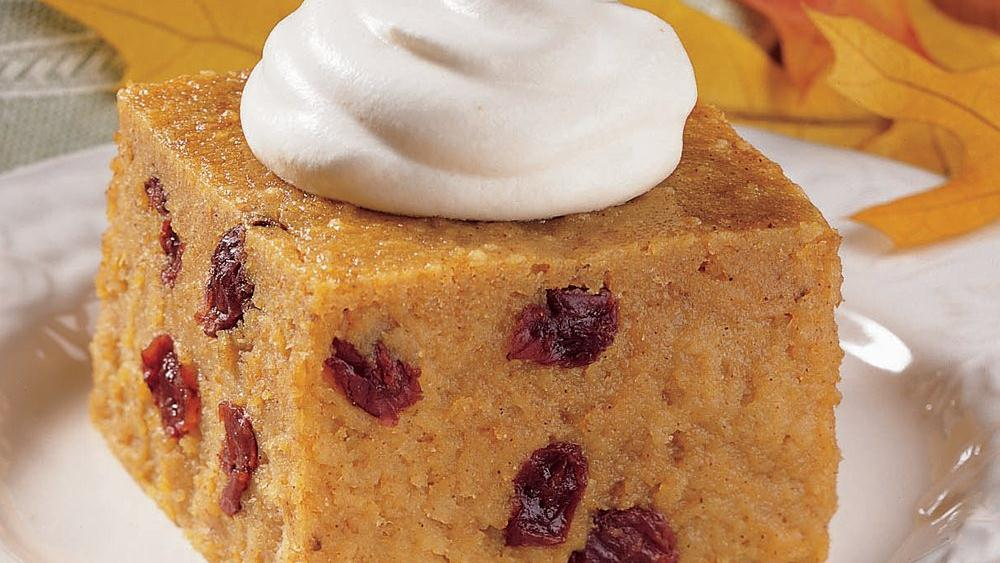Pumpkin Bread Pudding with Ginger Cream recipe from Pillsbury.com