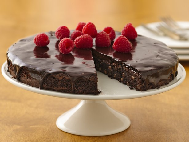 Gluten Free Brownie Ganache Torte with Raspberries