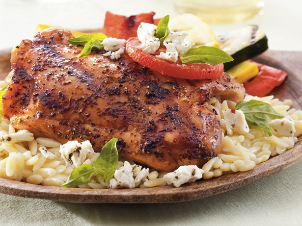 Grilled Tomato-Feta Chicken Thighs