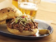 Slow-Cooker Cowboy Beef and BBQ Bean Sandwiches
