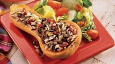 Glazed Wild Rice-Stuffed Squash Recipe