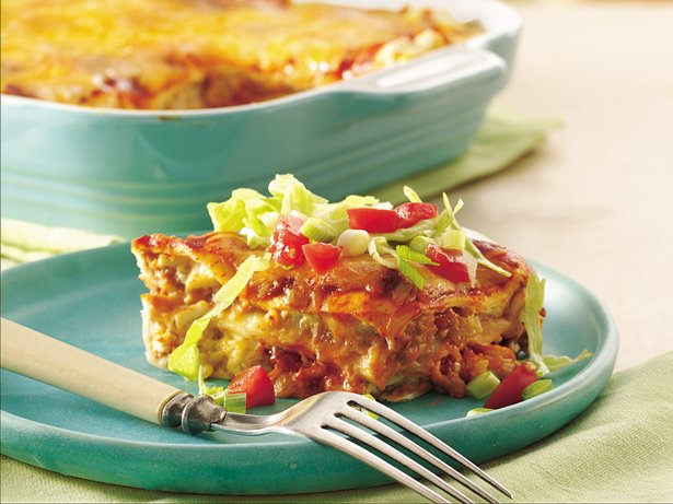Layered Chile-Chicken Enchilada Casserole