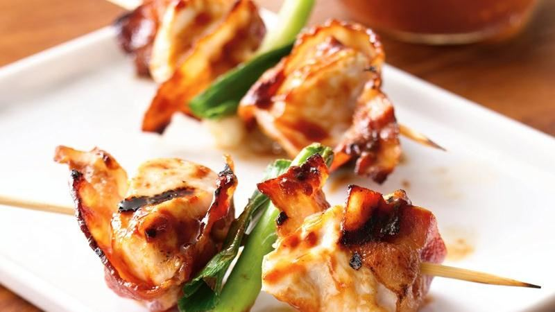 Grilled Barbecued Bacon-Chicken Skewers