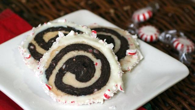 Chocolate and Peppermint Pinwheel Cookies