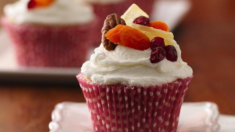 Holiday Fruit Cupcakes with Rum Buttercream Frosting