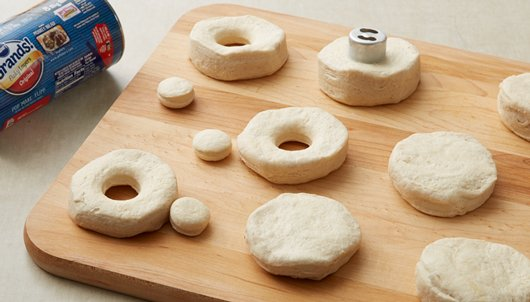 Heat oven to 350°F. Separate dough into 8 biscuits. Place biscuits ...