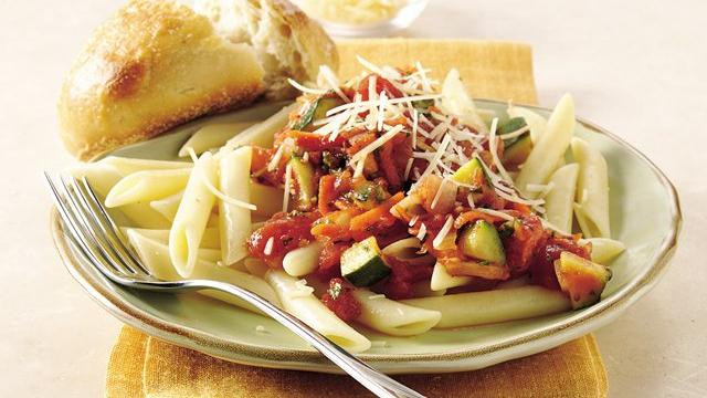 Penne with Vegetables in Tomato-Basil Sauce