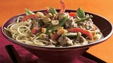 Thai Peanut Beef and Pea Pods Over Noodles Recipe