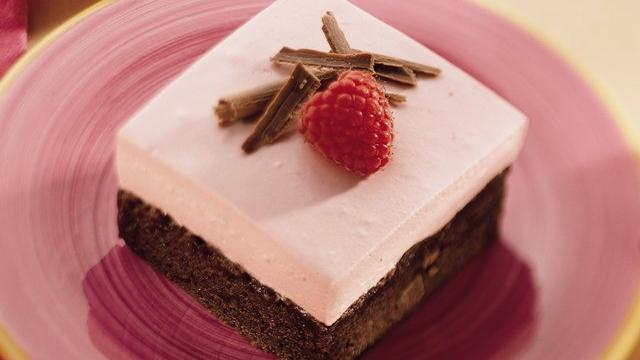 Raspberry Cream-Brownie Dessert Squares
