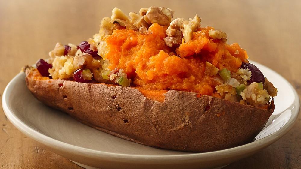 Cornbread 'n Bacon Stuffing in Sweet Potato Boats