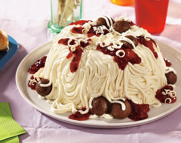 Image of April Fool's Spaghetti And Meatballs Cake, Betty Crocker