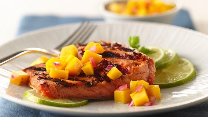 Grilled Ginger-Teriyaki Salmon with Honey-Mango Salsa recipe - from ...